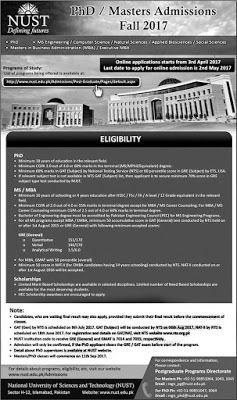 National University of Sciences and Technology (NUST) Islamabad Masters / Ph.D. Admissions 2017. National University of Sciences and Technology (NUST) Islamabad was founded in 1991 as a semi-government university. NUST is recognized by Higher Education Commission (HEC) and by Pakistan Engineering Council (PEC). NUST aims to provide quality education and need-based scholarships to deserving students. It was ranked No. 1 by Higher Education Commission (HEC) in 2015 rankings. NUST offers a wide…