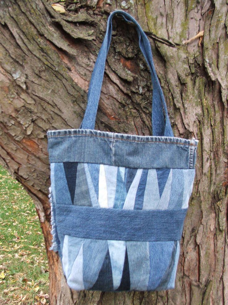 Denim patchwork tote bag.