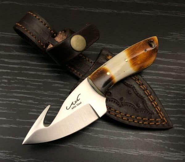 Bi331 440c Steel Custom Handmade Hunting Skinning Gut Hook Knife 6 Full Tang Knife Skinning Knife Handmade Knives