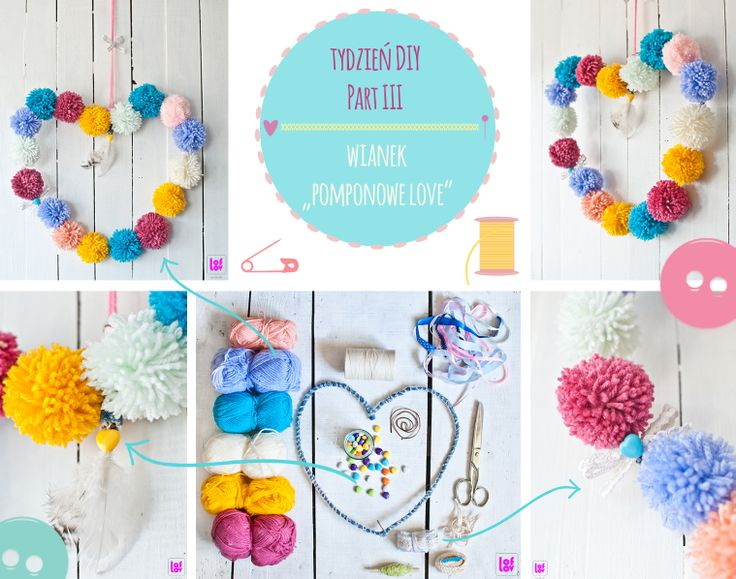 DIY pompom wreath  www.facebook.com/loflov #pompom #wreath #DIY