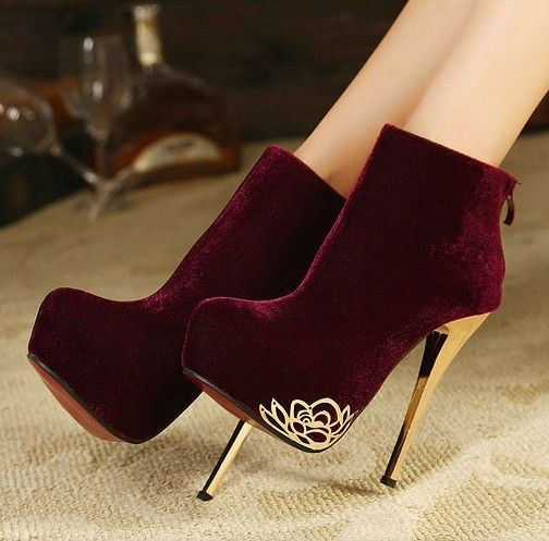 Special Focus more -High Heels Boots High Heel High Heels Boots (black,date,red) | Red velvet booties with gold heel