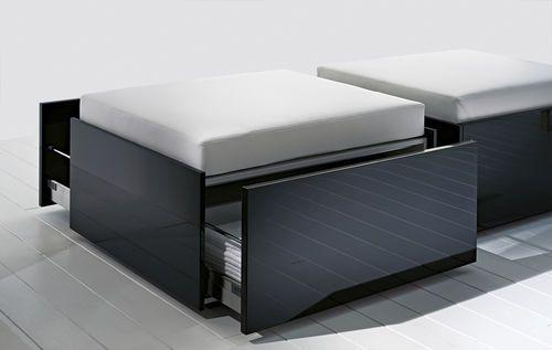 Pouf contemporain / en tissu / avec rangement / rectangulaire LESS RI.FRA MOBILI