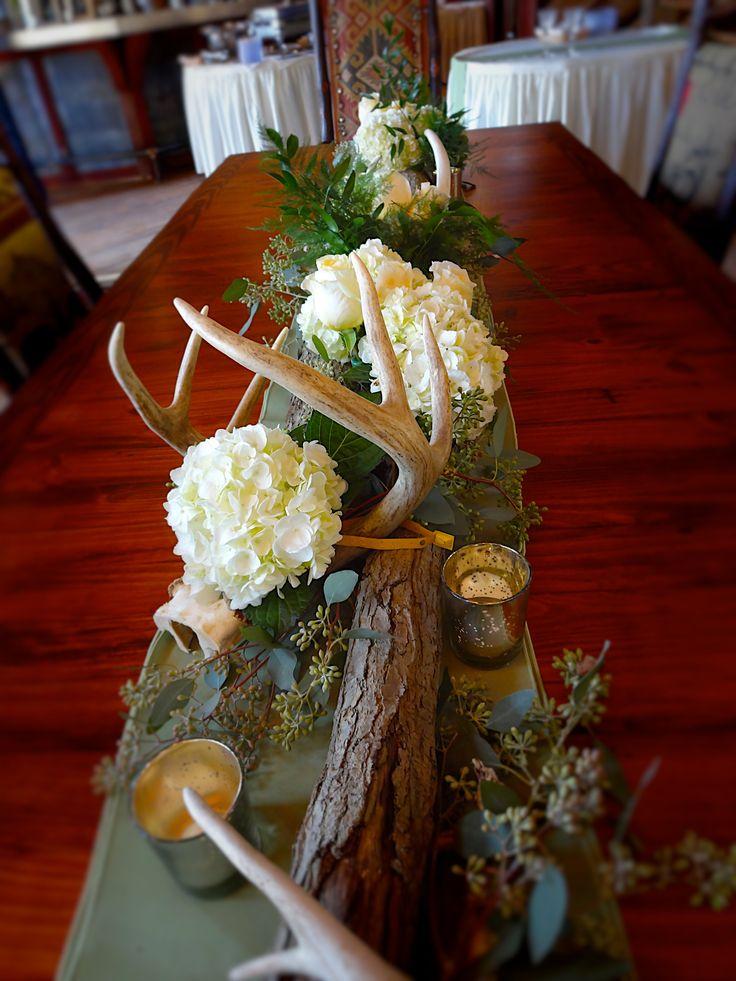 Rustic Barn Wedding - Fall Wedding - Antler and Wood Centerpiece   Baumann's Florist