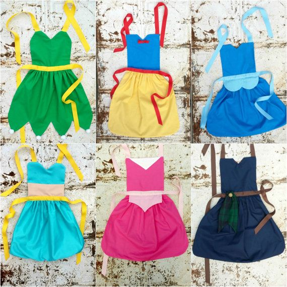 Set of 4. Your Choice of Disney inspired Princess APRONS. Fits sizes 12-24 mo, 2t, 3t, 4, 5, 6, 7, 8, 9, 10, 12. Dress up. Toddler Baby Girl