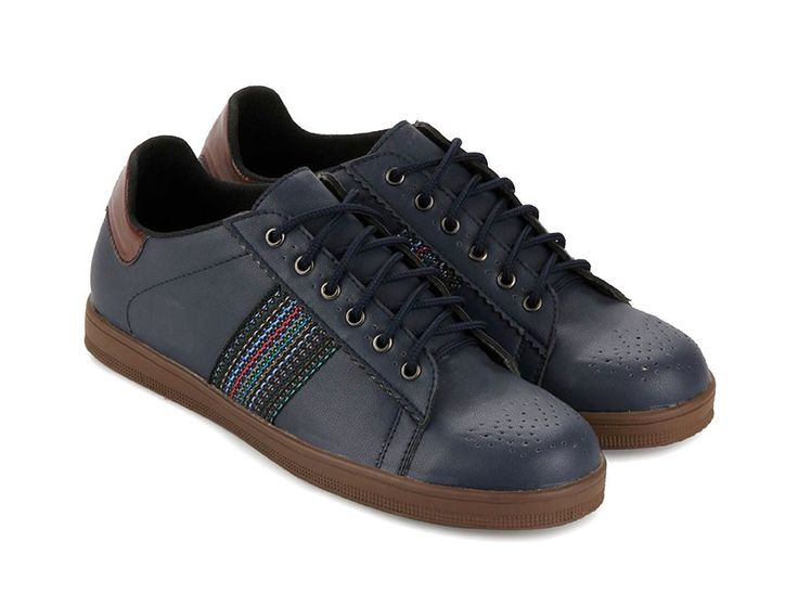 Road Casual Sneakers by Atypical. This shoes made from synthetic leather shoes, with navy blue color and brown rubber sole, round toe, lace up, and it has a colorful stripes on the side, complete your shoes with this navy blue sneakers.   http://www.zocko.com/z/JHxiK