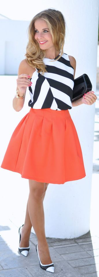 Orange Skirt And Stripes Fall Inspo by Te Cuento Mis Trucos.