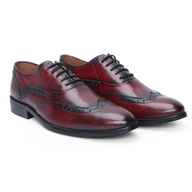 Buy Burnished Wine Hand Finished #Leather Brogue / Oxford #FormalShoes By Brune Online at Best Price @ #voganow