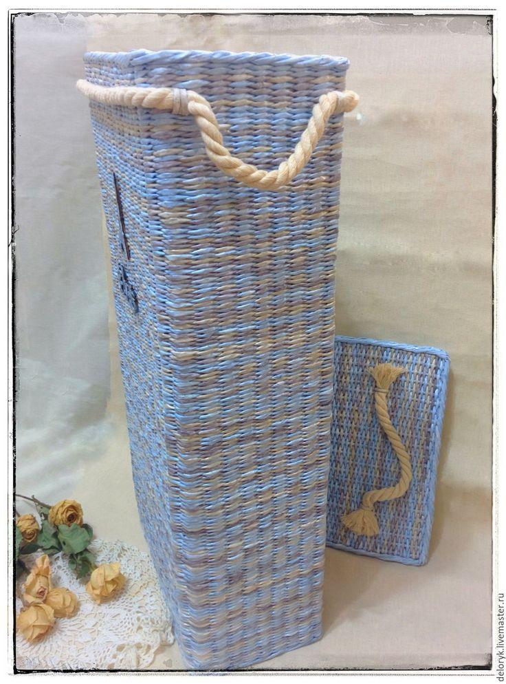 """Купить Корзина для белья """"Эйфелева башня"""" - голубой, короб плетеный, корзина для белья, плетеная корзина"""