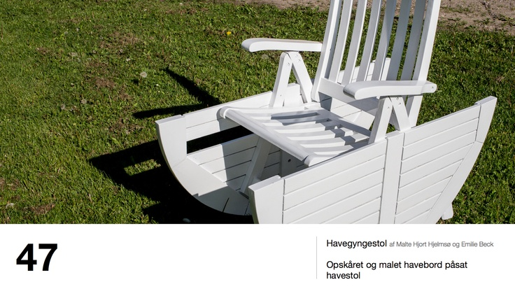 Havegyngestol af Malte Hjort Hjelmsø og Emilie Beck - Opskåret og malet havebord påsat havestol