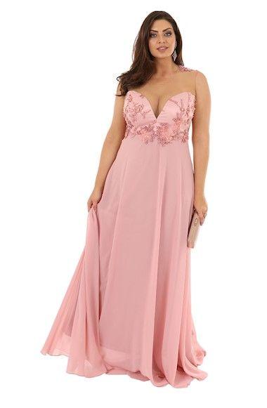eb5e17d532 Vestido de Festa Plus Size Rose Decote Coração em 2019