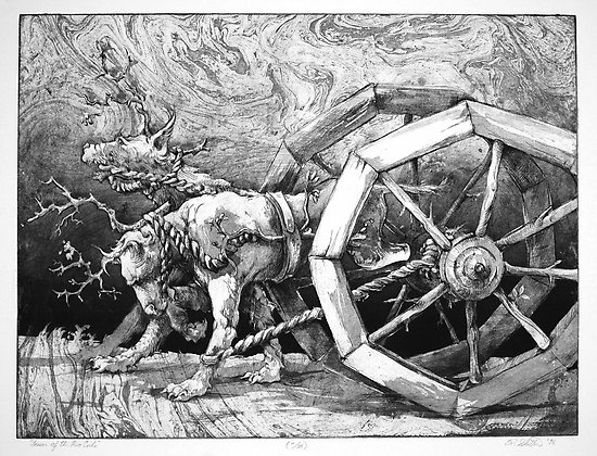 """""""The Lesser of the Two Evils"""", by Ralph D. Slatton  ---  intaglio print, line etch and aquatint"""