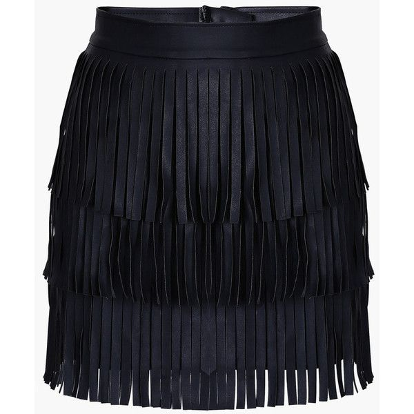 Black Faux Leather Fringed Mini Skirt ($49) ❤ liked on Polyvore featuring skirts, mini skirts, genuine people, black, fringe mini skirt, imitation leather skirt, vegan leather skirt, short skirts and fake leather skirt