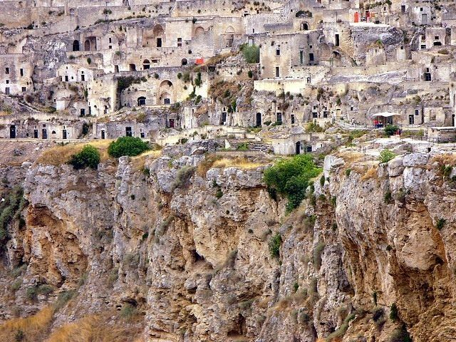 Matera, Italy Ancient cave dwellings restored and converted into a super fabulous hotel.