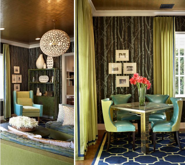 A look at the green/blue part of the peacock palette.Colors Trends, Dining Area, Dining Room, Style, Chairs, Spring Colors, Green, Dreams House, Interiors Design