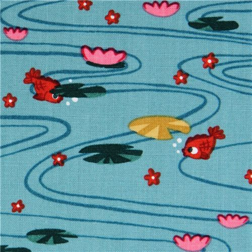 blue goldfish animal fabric by Alexander Henry USA