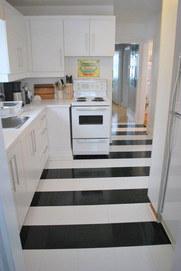 Love the black and white floor!