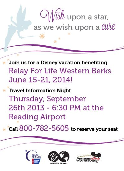 Support Relay For Life of Western Berks on this Disney vacation!