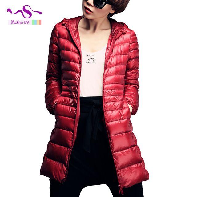 , Plus la taille 6XL 90% blanc duvet de canard veste femmes ultra léger doudoune 2015 new hiver capuche mince long manteau 42$ ou 35$ sur APP