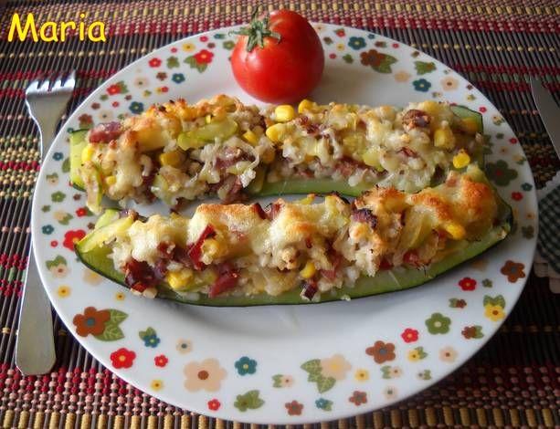 Calabacines rellenos con trigo sarraceno, maíz y jamón