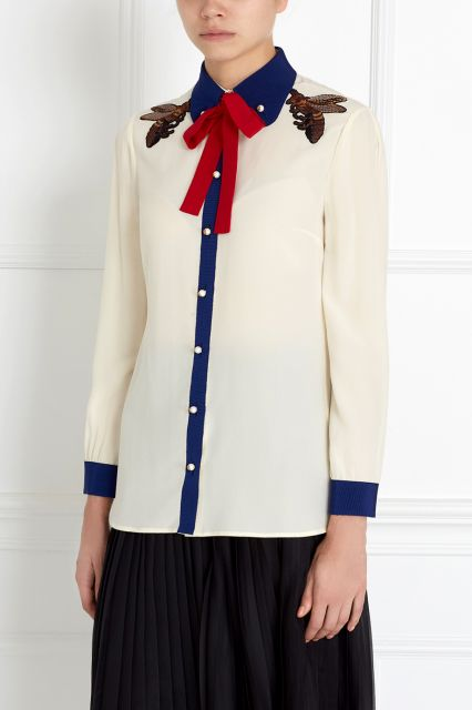 Шелковая блузка Gucci - Идеальная блузка из натурального тонкого шелка от знаменитого бренда Gucci в интернет-магазине модной дизайнерской и брендовой одежды