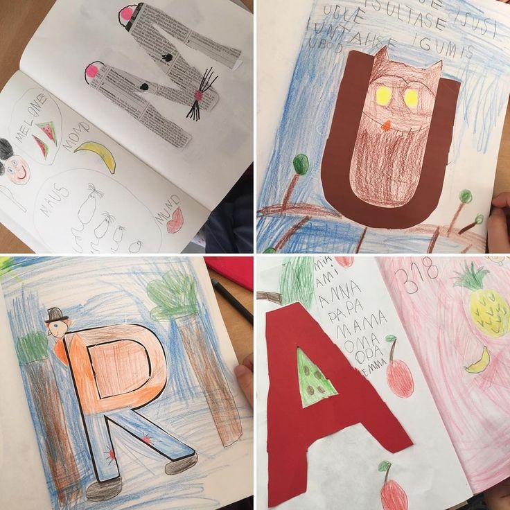 Am Anfang des Schuljahres haben die Kinder ein großes gebundenes Buch mit leeren Seiten mitgebracht. Das wird nun immer mehr mit Buchstaben und Bildern gefüllt. Zu jedem gelernten Buchstaben gestalten wir eine Seite. #lieblingslehrerplaner #grundschule #buchstaben #ersteklasse #buchstabenbuch
