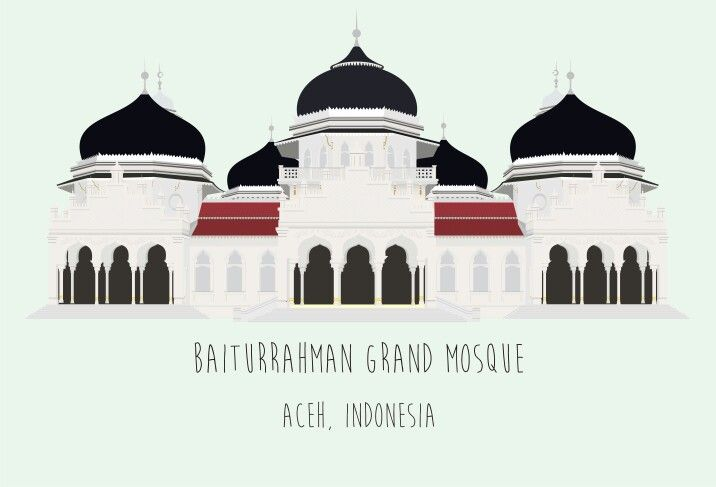 Icon aceh, indonesia. Baiturrahman grand mosque