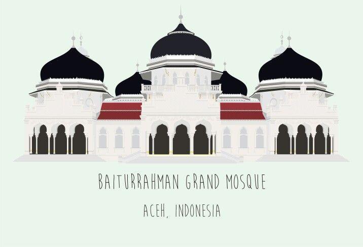 Icon aceh, indonesia. Baiturrahman grand mosque