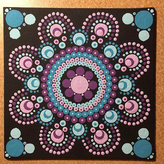Mandala de punto hecho a mano de 6 x 6 pulgadas de la lona, pintura del punto, punto arte, Dotilism, arte de la pared