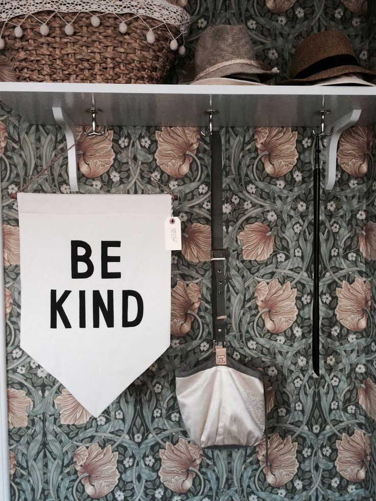 Our hallway - William Morris wallpaper - Pimpernel - Be Kind banner by SecretHolidayCo