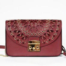 2016 New Women Hollow Out Designer Flap Messenger Crossbody Genuine Leather Rivet Bags Single Shoulder Handbag Flap Chain Bag