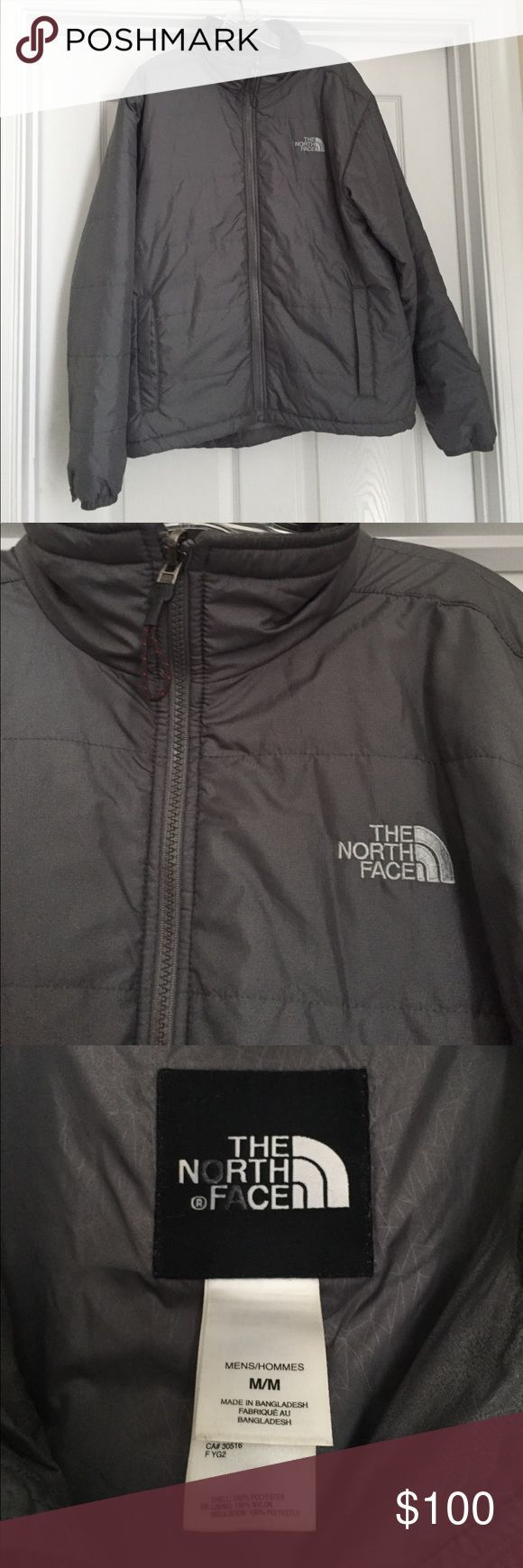 Men's North Face light puffer jacket Men's North Face lightweight puffer jacket, size medium. Greta gray color that never goes out of style! Bought at the outlet a few years ago but my husband has only worn it a handful of time since it does not get cold where we live. Only sign of wear is on the button loop at he end of the sleeves (see last photo). North Face Jackets & Coats Puffers