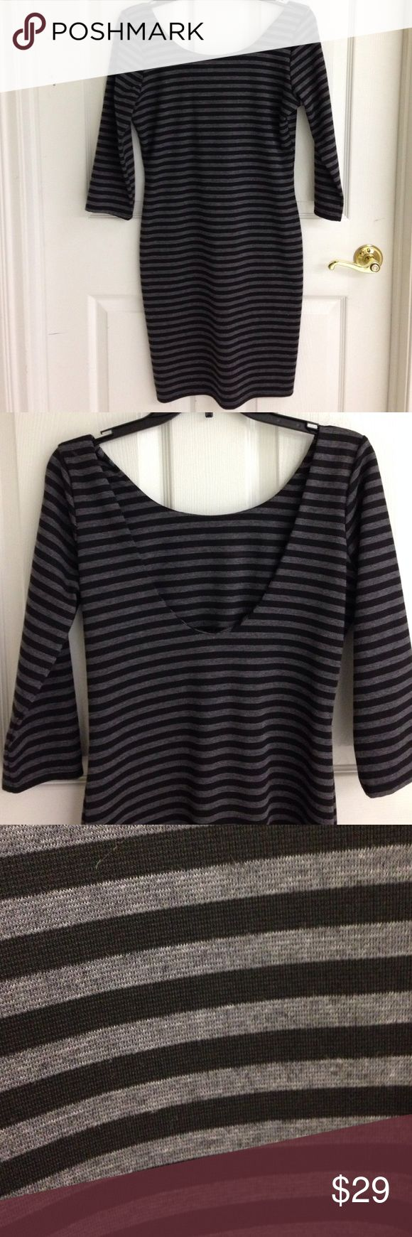 ⏰SALE⏰ Bar III Black & Gray Dress Bar III black and gray striped dress with a low back. 3/4 sleeves. In excellent condition! Bar III Dresses