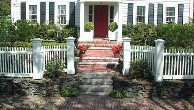 front yard stone retaining wall with fence - Google Search ...