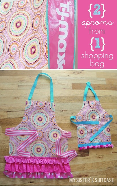 shopping bag becomes adorable wipe 'n clean aprons.