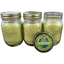 Natural Lemongrass, Citronella Mosquito Repellent Candle (Set of 3) Indoor/Outdoor -88 Hour Burn- Naturally Repels Insects with Essential Oils, Soy Base, Ball Mason Jar, Made in USA, Mosquito Naturals - Each candle has an 88 HOUR BURN TIME; 2x longer than most candles of this type; Comes in a stylish 12 oz. Ball Mason Jar with screw top lid to keep candle clean and dry for the next use You'll love the smell of this candle! A pleasant natural smell that doesn't overpower. Candles make a…