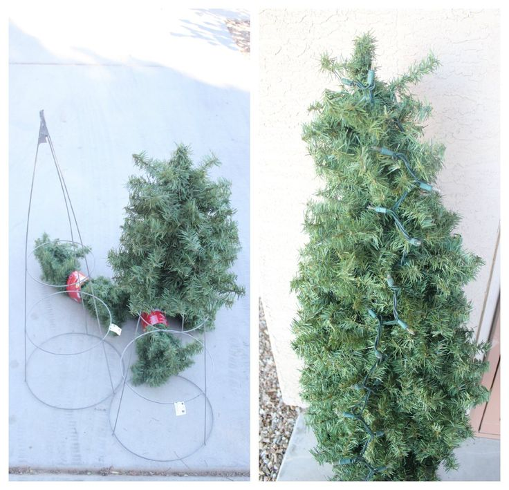 Great DIY using Tomato cages and faux garland: Making a DIY Christmas Tree by Mom Endeavors #LowesCreator