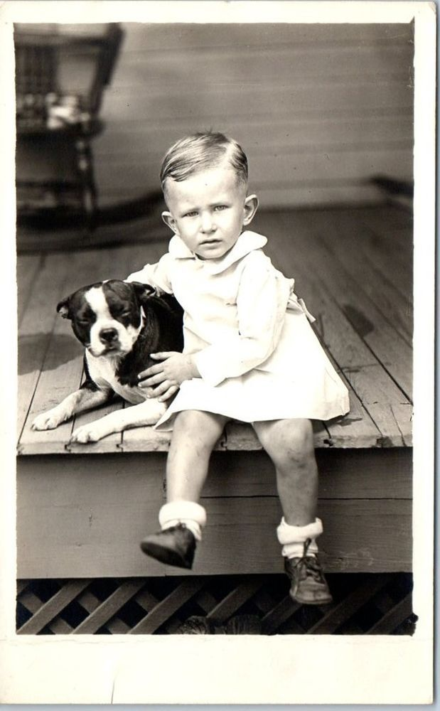 c1920s Real Photo RPPC Postcard Very Serious Young Boy w/ Boxer Puppy Dog
