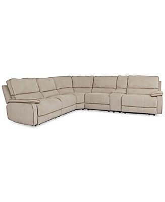 Cody fabric 6 piece l shaped sectional sofa with 2 power for Cody fabric 5 piece l shaped sectional sofa