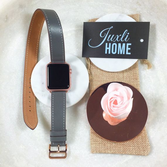 Gray Hand-Stitched Apple Watch Leather Double Tour Band, Double Wrap Apple Watch Band, 38mm Apple Watch Leather Band, Apple Watch Rose Gold!