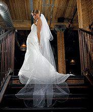 2-Tier White Standard Tulle Veil - Floor Length