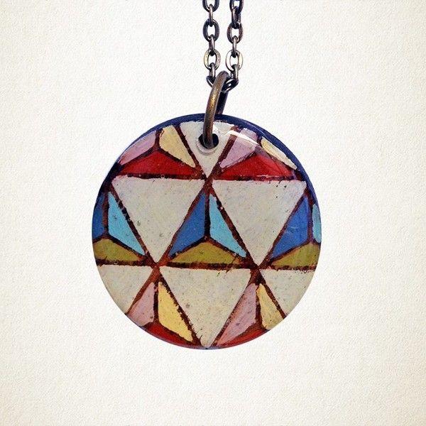 Shonah Geometric Pendant Hand Painted   Krinkle - Homewares & Gifts