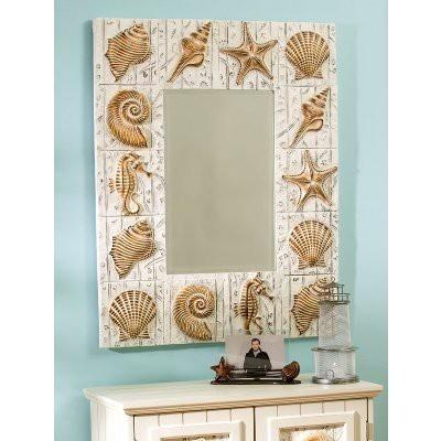 #decorSeashells Mirrors, Beach House, Guest Bathroom, Decor Ideas For The Hom, Decor Decor Ideas, Bathroom Mirrors Beach Ideas, Beach Theme, Frames Mirrors, Decor Mirrors