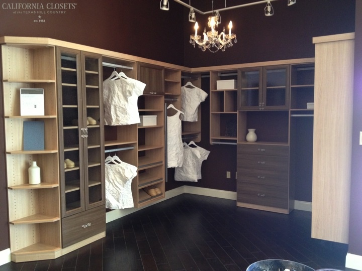 Umbrian Oak Closet With Roman Walnut Fronts   San Antonio Showroom |  Www.texashomeorganizationblog.