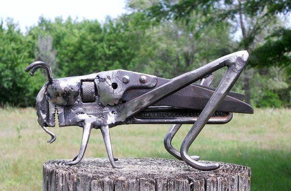 Wood Cricket Metal Sculpture Garden Art Yard by rustaboutcreations,