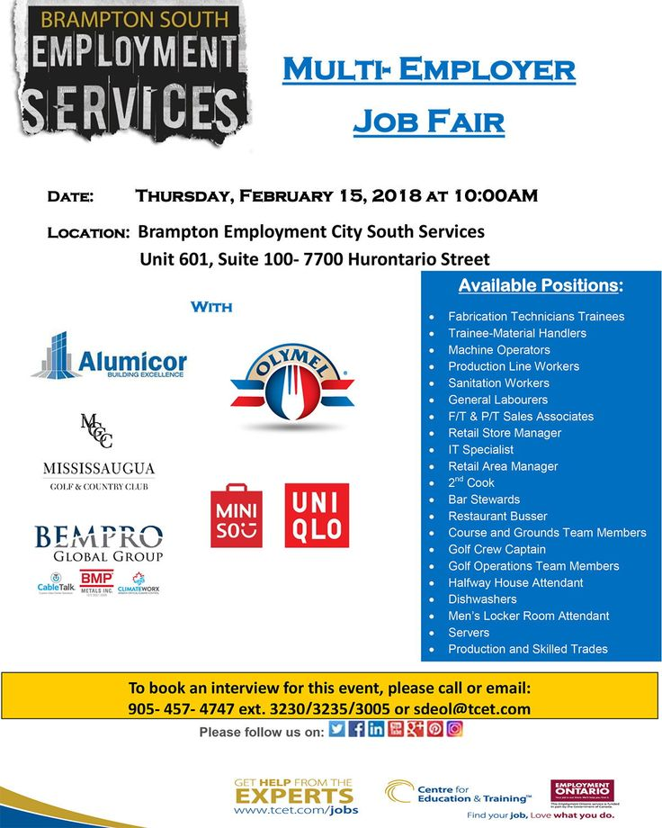 Looking for work? This Thurs Feb 15th at 10am, don't miss the Multi-Employer Job Fair at #TCET_BramptonSouth. Meet with employers from six different employers, offering over 20 different positions! RSVP 905-457-4747 ext. 3230 or email sdeol@tcet.com #ONjobs #JobSearch #Hiring