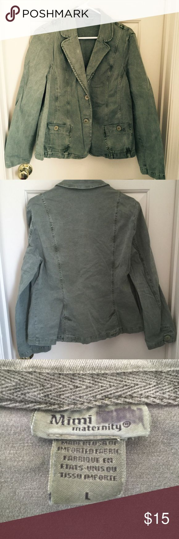 Mimi Maternity Blazer Jacket Large Green Mimi maternity jacket or blazer in a distressed green color. Button details. Good condition. Small stain on arm. I didn't try to remove it just found when taking photos. Hardly noticeable. See picture of arm. Mark on label. Mimi Materntity Jackets & Coats Blazers