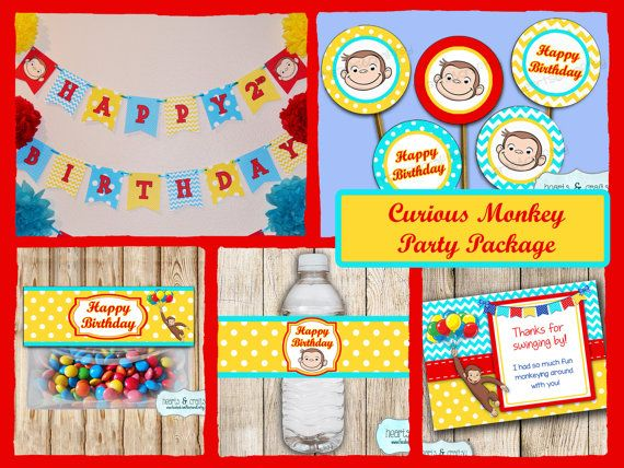 Curious George Party Package INSTANT DOWNLOAD Print Your Own / Curious George Birthday Party Package - Printable