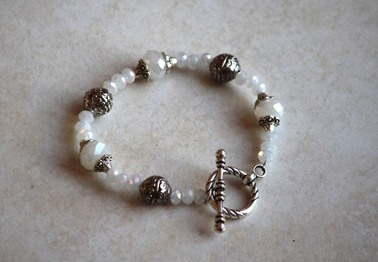 White crystal bracelet by HeartBeads.    https://www.facebook.com/heartbeadsjewellery