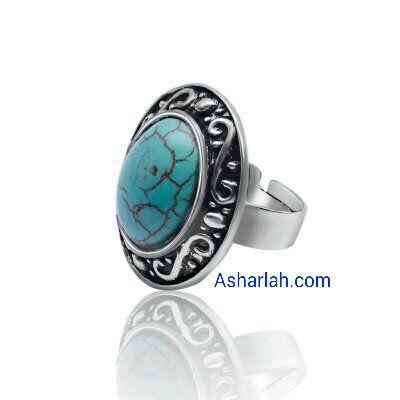 Tourquise stone antique boho style adjustable silver ring