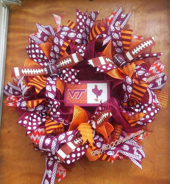 Check out this item in my Etsy shop https://www.etsy.com/listing/457457516/virginia-tech-wreath-vt-football-wreath
